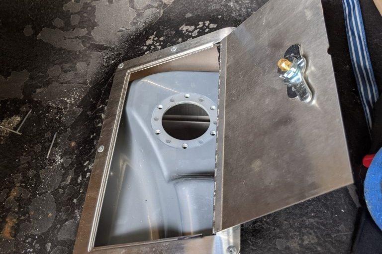 Fuel access door for 2nd Gen Firebird Trans Am using a Tanks Inc fuel injection gas tank
